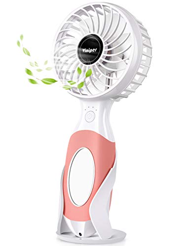 viniper Battery Handheld Fan, Mini Personal Portable Fan : 3600mAh Rechargeable & 3 Speeds Battery Operated Usb Fan with Mini Mirror and Fan Stand for Home/Office/Travel/Outdoor (Pink)