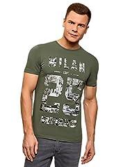oodji Ultra Hombre Hombre Camiseta de Algodón con Estampado