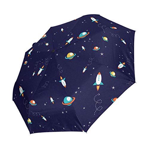 Ahomy Kompakter Reise-Regenschirm Cosmic Planets Rakete Raumschiff Äußere Galaxie winddicht Regenschirme, automatisches Öffnen Schließen, rutschfester Griff für einfaches Tragen