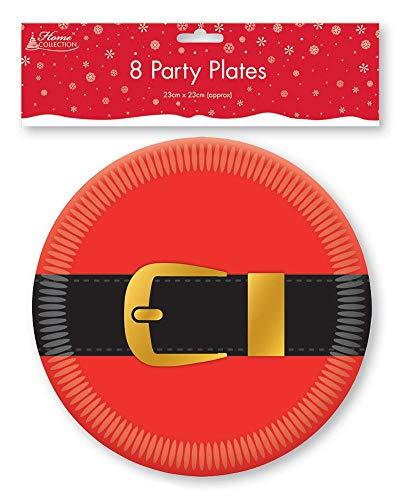 Home Collection 8 X Père Noël Ceinture Noël Plaques Traditionnel Rond Papier Jetables Couverts de Table Fête Soirée