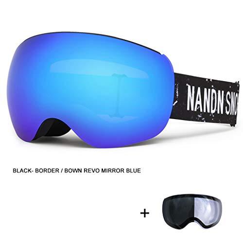 DIMPLEYA Ski Snowboard Schneebrille Für Männer Frauen Anti-Fog 100% UV400 Schutz Über Brillen Brillenband Abnehmbares Linsensystem,F2
