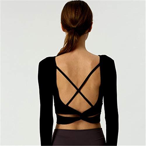XuZeLii Yoga Top Yoga Sport Langarm-T-Shirt Mit Querbügel Fitness-Weste Mit Kasten-Auflage Geeignet für Fitnessübungen (Color : C, Size : L)