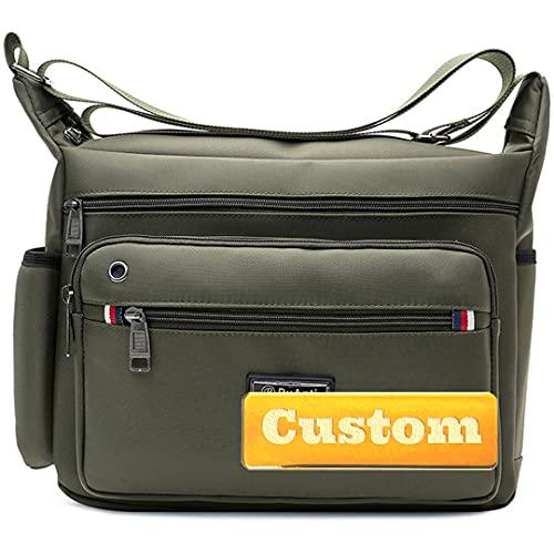 Nome personalizzato grande borsa messaggero per gli uomini Crossbody viaggio uomo borsa con tracolla borse, Verde, Taglia unica,