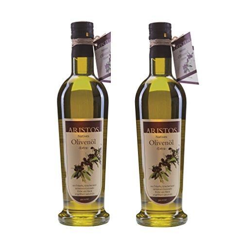 ARISTOS kaltgepresstes natives Olivenöl extra sortenrein Koroneiki naturtrüb Griechenland frische Ernte Dez 2019 (2x 500ml)