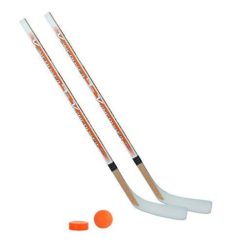 Unbekannt Streethockeyschläger-Set Kids 6: 2 Vancouver-Schläger 115cm gerade Kelle & Ball und Puck orange