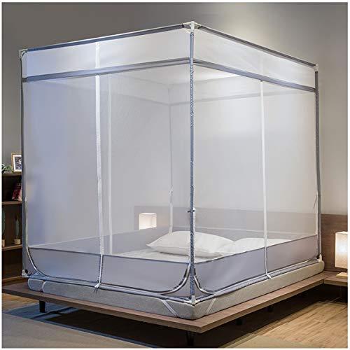 YANGM 4-hoekige bed luifel muggennet bed muggengordijn vierkant Netting gordijn roestvrij staal beugel kind anti-val versleuteling verdikking eenvoudig, fit single/tweepersoons/kingsize bed