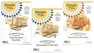 Simple Mills, Snacks Variety Pack, Fine Ground Sea Salt, Rosemary & Sea Salt, Farmhouse Cheddar Variety Pack, 3 Count (Pac...