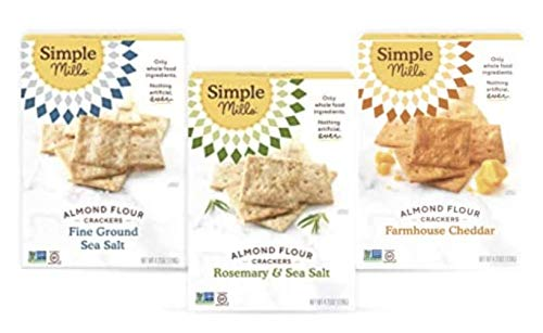 Simple Mills, Snacks Variety Pack, Fine Ground Sea Salt, Rosemary & Sea Salt, Farmhouse Cheddar Variety Pack, 3 Count (Packaging May Vary)