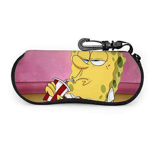 Cartoon Weenies Spongebob Schwammkopf-Brillenetui, tragbar, Reise-Reißverschluss, Sonnenbrillenetui, Brille, Tasche, Schutz-Set