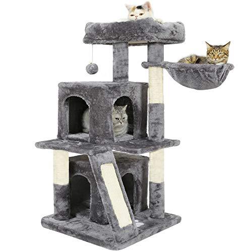 MSmask Kratzbaum 105cm, Kletterbaum mit Großer Plattform 2 Plüschhöhlen Spielhaus Stabiler Katzenbaum für große Katzen (Hellgrau)