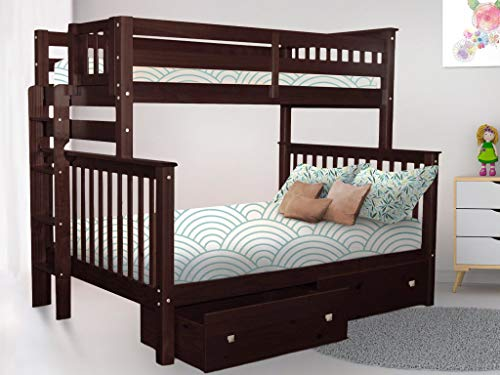 Bedz King Bunk Beds Twin Over Full Mission Style with End Ladder and 2 Under Bed Drawers, Dark Cherry