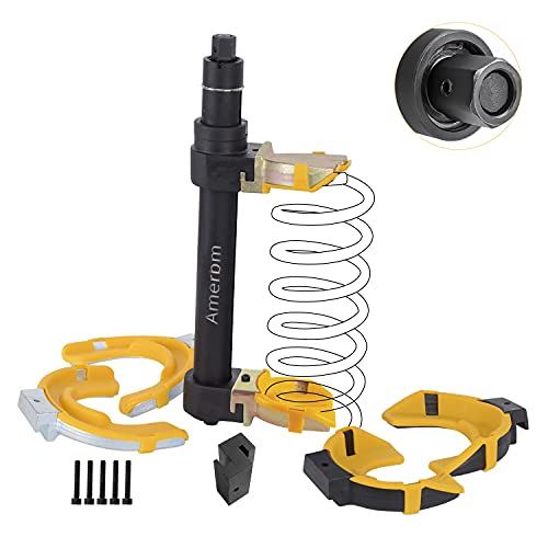 Amerbm Spring Compressor Tool Macpherson Interchangeable Fork Strut Coil Extractor Tool Set with Safety Guard (Overload Protection Device) and Carrying Case Allow The Use of Impact Wrenches