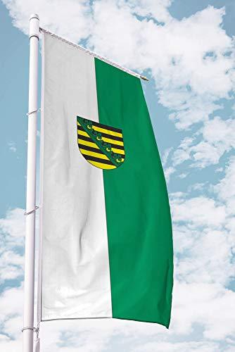 Deitert Bundesland-Flagge Sachsen – 120x300 cm Sachsen Flagge mit Wappen, Fahne für Ausleger aus reißfestem Polyester
