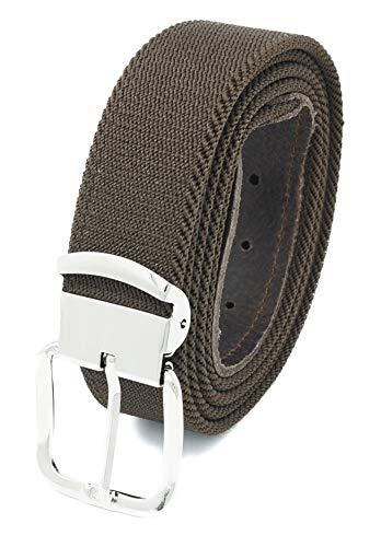 Xeira Hochwertiger Elastik- Stoffgürtel Uni Braun mit Braunen Leder Endstück