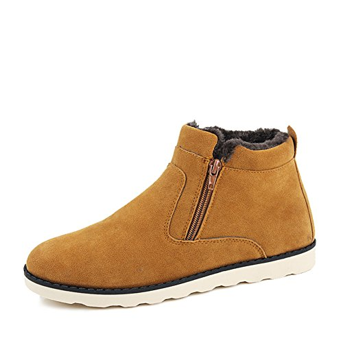Leader Show Men's Winter Fur Lined Snow Boot Side Zipper Ankle High Warm Shoe (6.5, Brown)