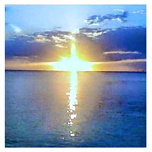 Diamond Painting by Number Kit, LPRTALK Adults Children 5D DIY Diamond Painting Scenery Full Round Drill Sea Cross Sunrise Embroidery for Wall Decoration 12X12 inches (Full Drill)