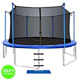 ORCC New Upgrade Trampoline Maximum Weight Capacity 400LBS with Safety Enclosure Net Wind Stakes Rain Cover Ladder, 15 14 12 10 FT Outdoor Trampoline for Kids Adults, Backyard Trampoline (12ft)