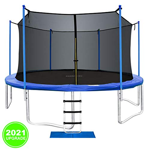 ORCC New Upgrade Trampoline with Safety Enclosure Net Wind Stakes Rain Cover Ladder, 15 14 12 10 FT Outdoor Trampoline for Kids Adults, Backyard Trampoline (14ft)