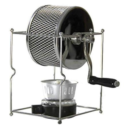 PQZATX ステンレス鋼製コーヒー?ロースター、マニュアル、手動回転、ガスのアルコールストーブ、豆のベーキングメーカー、エスプレッソ機械