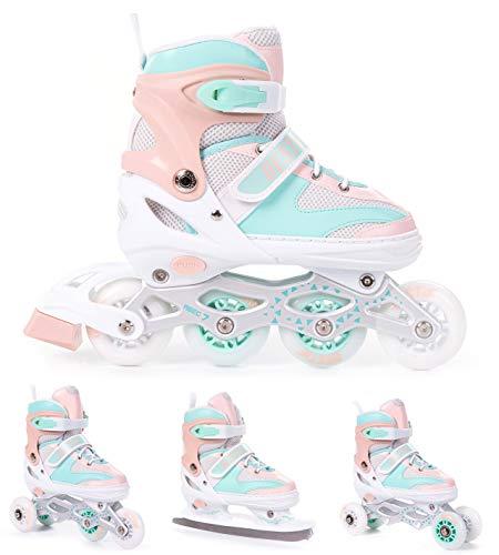 BESTIF Inliner für Kinder und Erwachsene Inline Skates 4in1 Rollschuhe Schlittschuhe Verstellbar (Türkis-Orange, 38-41)