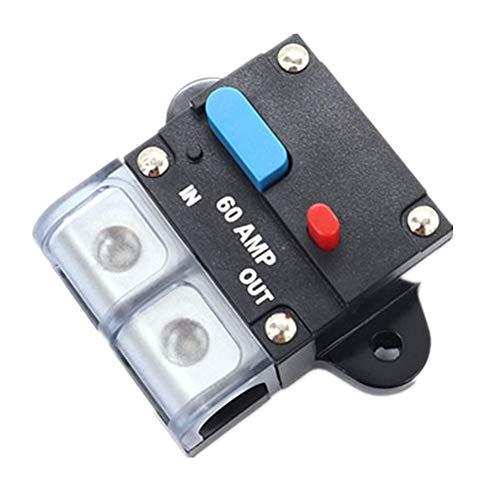 Motor Fuse Holders Inverter Circuit Breaker Car Audio Solar Energy Inline Circuit Breaker Fuse Inverter With Waterproof Cover For Motor Auto Car Marine Boat (60A)