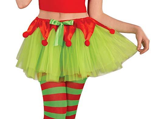 Forum Novelties Women's Elf Tutu, Green/Red, One Size