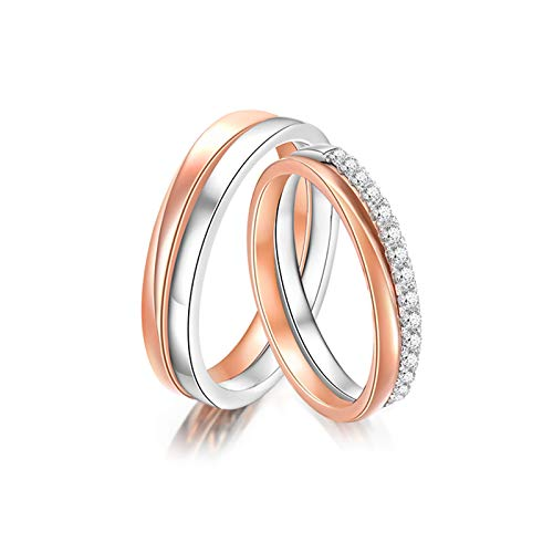 KnSam Anillo Oro Rosa de 18K, Redondo Anillo de Compromiso con Diamante Blanco 0.12ct, Mujer Talla 10 y Hombre Talla 17 (Precio por 2 Anillos)