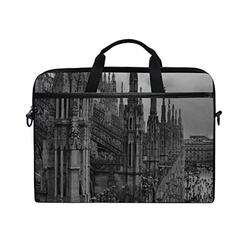 Rh Studio Laptop Bag with Shoulder Strap Handle Duomo Di Milano Minaret Duomo Milan Messenger Bag Case Sleeve for 14 to 15.6 Inch with Adjustable Notebook Shoulder Strap