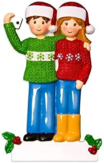 Grantwood Technology Personalized Christmas Ornaments Selfie Family Couple/Ornaments for Couples/Couple Taking A Selfie Ornament/Personalized by Santa