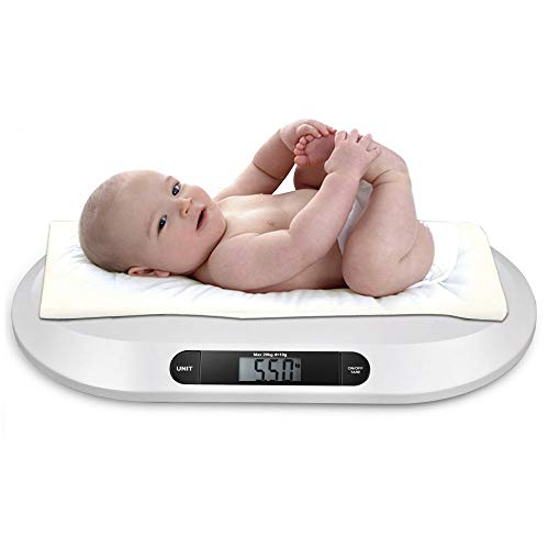 Báscula para bebés báscula digital plana báscula de lactancia báscula para animales, para recién nacidos de hasta 20 kg con pantalla LCD, función de tara, apagado automático, blanco