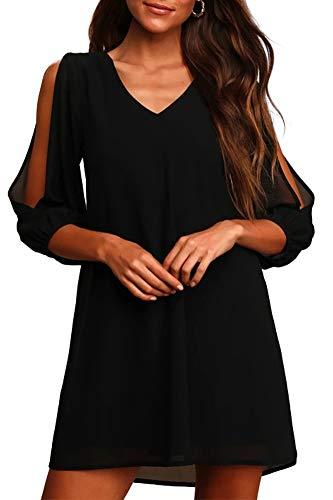 Brosloth Damen Kleider Blusenkleid V-Ausschnitt Elegant Kleid Chiffon-Kleider mit A-Linie 3/4 Ärmel Party Kleid für hochzeitsgäste Lose Tunika Kleid Schwarz L