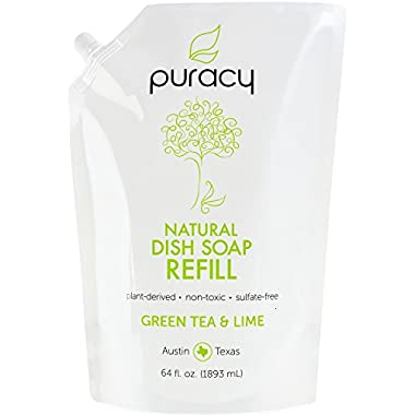 Puracy Natural Liquid Dish Soap Refill, Sulfate-Free Hand Dishwashing Detergent, Green Tea and Lime, 64 Ounce Pouch