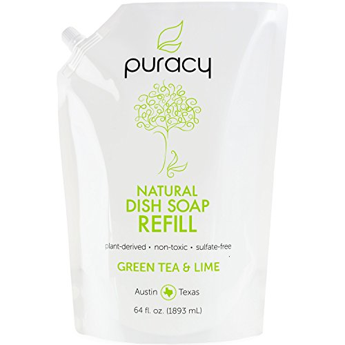 Puracy Natural Dish Soap Refill, Green Tea & Lime, Sulfate-Free Liquid Detergent, 64 Ounce