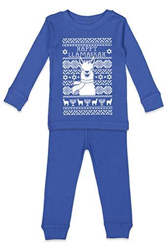 Haase Unlimited Happy Llamakkah - Hanukkah Llama Youth Pajama Set (Royal Blue Top/Royal Blue Bottoms, Youth 10)