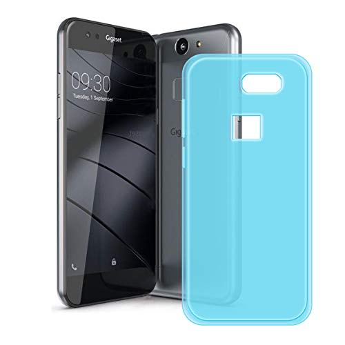 DQG Anti-Fall Schutzhülle für Gigaset ME Pure Hülle, Weiche Flexibel Handytasche Semi-Transparent Blau TPU Handyhülle Silikon Tasche Schale Case Cover für Gigaset ME Pure (5.0