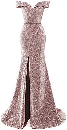 HUINI Abendkleider Glitzer Hochzeitskleid Meerjungfrau Lang Ballkleid V-Ausschnitt Festkleider mit Schleppe Blush 42