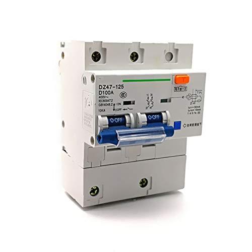 WANGYIYI Interruptor de Circuito de Fugas Interruptor de Aire del hogar Tipo de alimentación 100A 2P Bipolar con protección de Fugas Interruptor Multifuncional de Fugas
