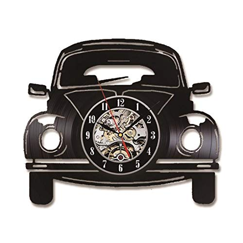 KCOLC Wandklok Muto zwart leeg 3D-vorm auto record vinyl Appeso Wandklok Wandklok Radio Controlled 12 inch No Led