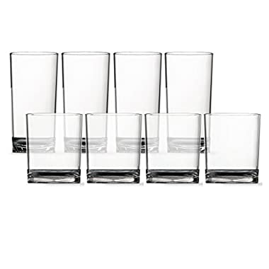 8pc Clarus Tritan Unbreakable Plastic Tumblers, four 14oz rocks and four 16oz water