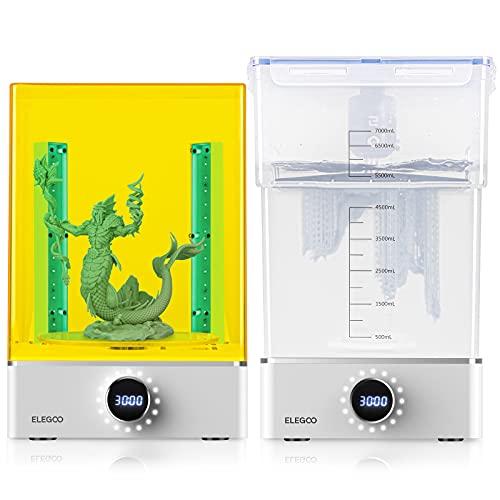 ELEGOO Mercury Plus Máquina de Lavado y Curado 2 en 1 para Mars Photon S Photon Mono LCD/DLP/SLA Modelos Impresos en 3D Caja de Curado UV de Resina con Plato Giratorio de Curado y Cubeta de Lavad