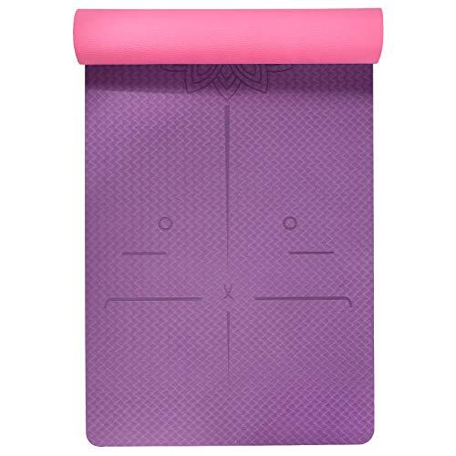 Freedm - Tappetino da yoga in TPE ecologico, antiscivolo, con tracolla, per yoga, pilates e ginnastica, 183 x 61 x 0,6 cm, colore: viola