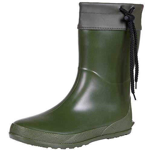 Women's Mid Calf Rain Boots Collar Gardening Boots Ultra Lightweight Portable Garden Shoes Green, EU38