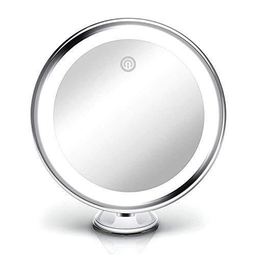 Fancii Espejo de Aumento x10 y Luz LED Diurna y Ventosa, USB y Pilas - Espejo de Maquillaje Iluminado, Regulable Luz, 20 cm de Ancho, Rotación 360°, Portátil
