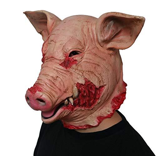 ZJMIYJ Halloween Maske,Horror Schwein Overhead Tiermaske Latex Schwein Maske Halloween Kostüm Scary Saw Schwein Maske Vollkopf Horror Evil Animal Prop