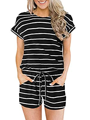 ANRABESS Women's Summer Solid Jumpsuit Casual Loose Short Sleeve Jumpsuit Rompers with Pockets Elastic Waist Playsuit Black&White-M BYF-33