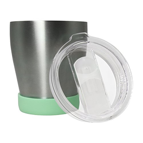 chaoying 10 oz Foucs Mug with Crystal Clear Lid, Double Wall Stainless Steel Vacuum Insulation, Travel coffee Mug, For Home, Office, School, Works Great for Ice Drink, Hot Beverage-Green
