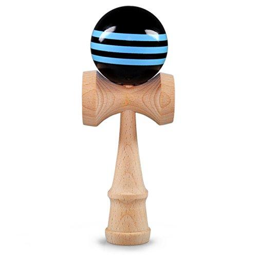 Ganzoo Kendama aus echtem Buchenholz, Kugel ca. 6 cm Durchmesser, blau/schwarz oberflächenlackiert, Japanisches traditionelles Holzspielzeug, Kugelspiel, Geschicklichkeitsspiel, Marke (Blau/Schwarz)