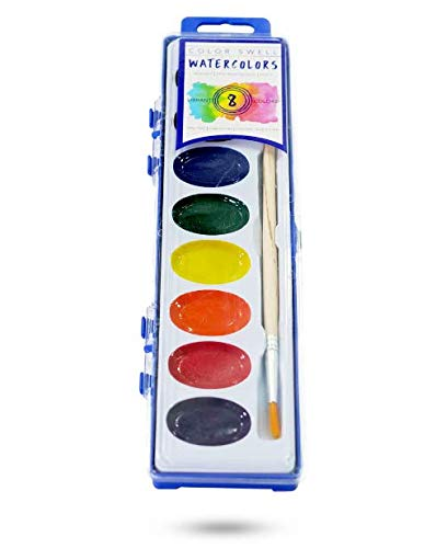Color Swell Watercolor Paints with Strong Wood Brush 8 Colors Washable Water Colors Great for Kids Adults Parties Students Classrooms