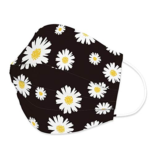 Edaren 30Pcs/Pack Face Mask 3-Layer Fashion Design Protection Adjustable Covering Unisex Mouth Shield Adult Little Daisy