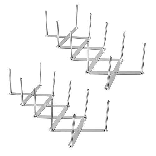 2er Set Deckelhalter Rippchenhalter aus Edelstahl, Verstellbarer Spareribs-Halter, Multifunktionales Teleskoplagerregal Dämpfer Abtropfgestell, Zubehör für Küchen und Grill